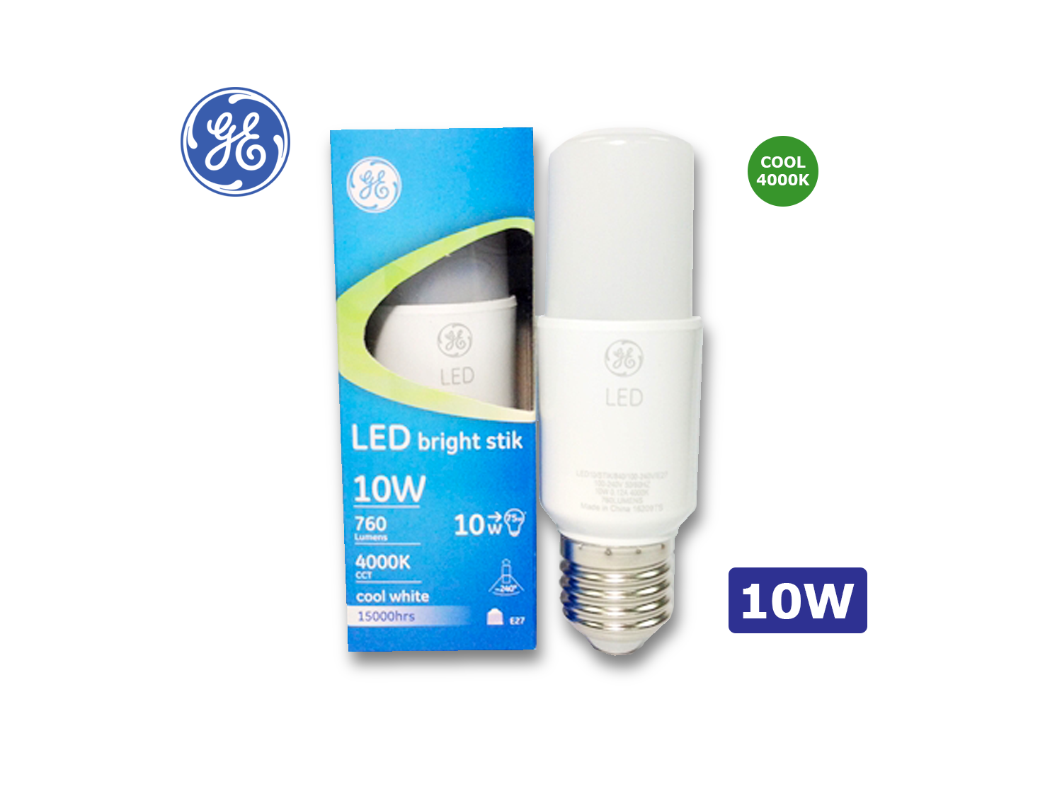 GE 10W/LED Brightstik E27/4000K(Cool White)/100-240V ; SKU: 35833T, LED10/STIK/840/100-240V/E27