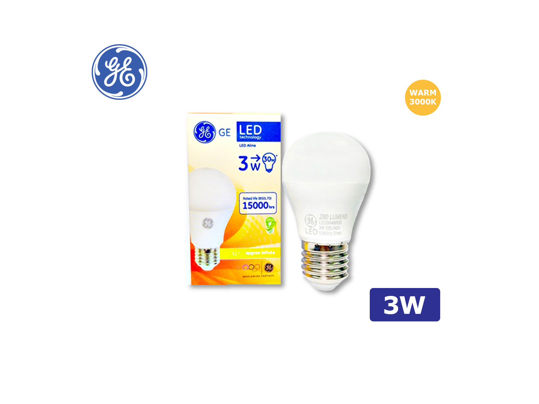 GE LED A48/3W/E27/3000K(Warm White)/220-240V ; SKU : 45608T, LED3/A48/830/220-240/E27
