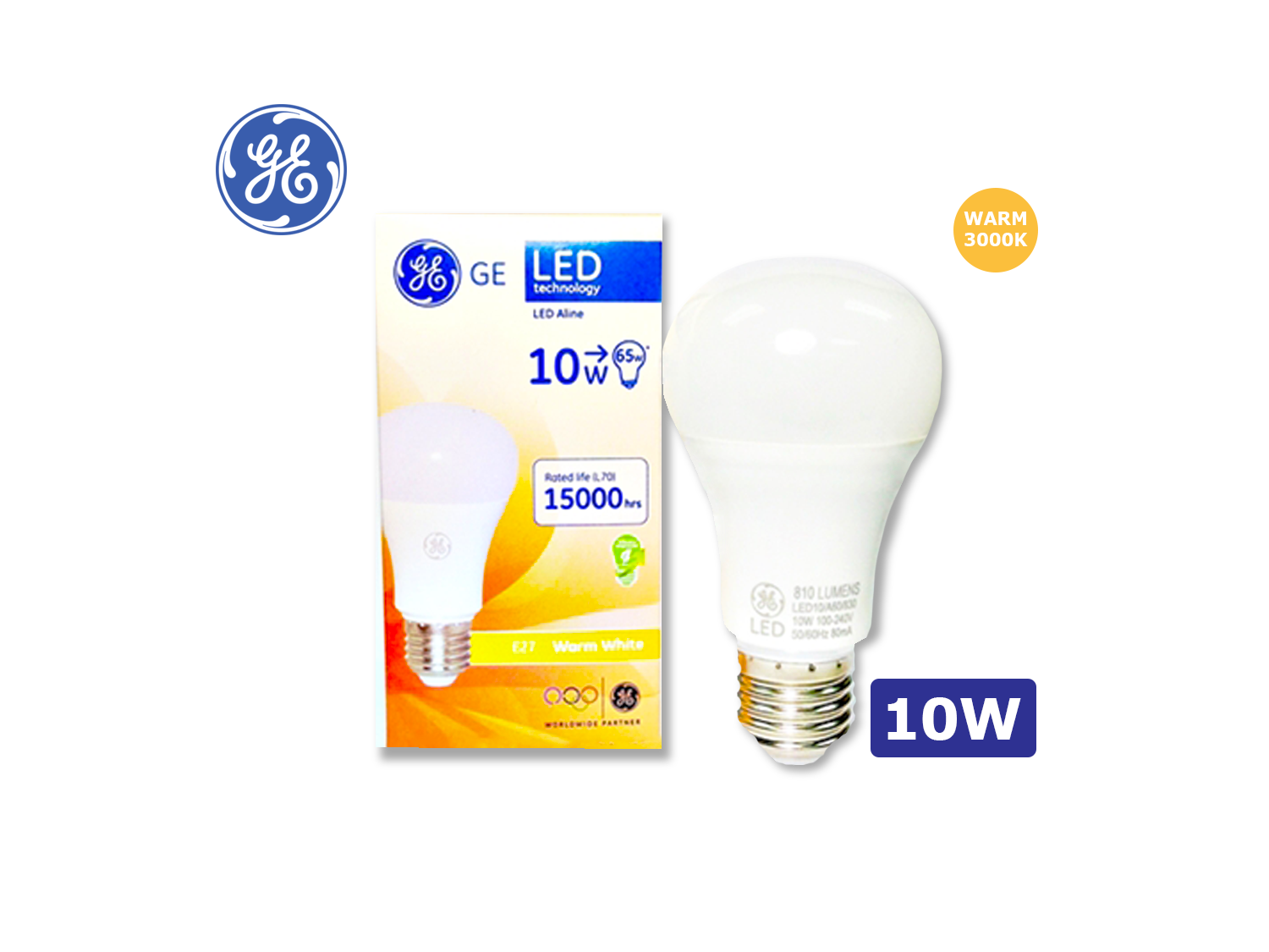 GE LED A60/10W/E27/3000K(Warm White)/100-240V ; SKU : 62164BT, LED10/A60/830/100-240V/E27