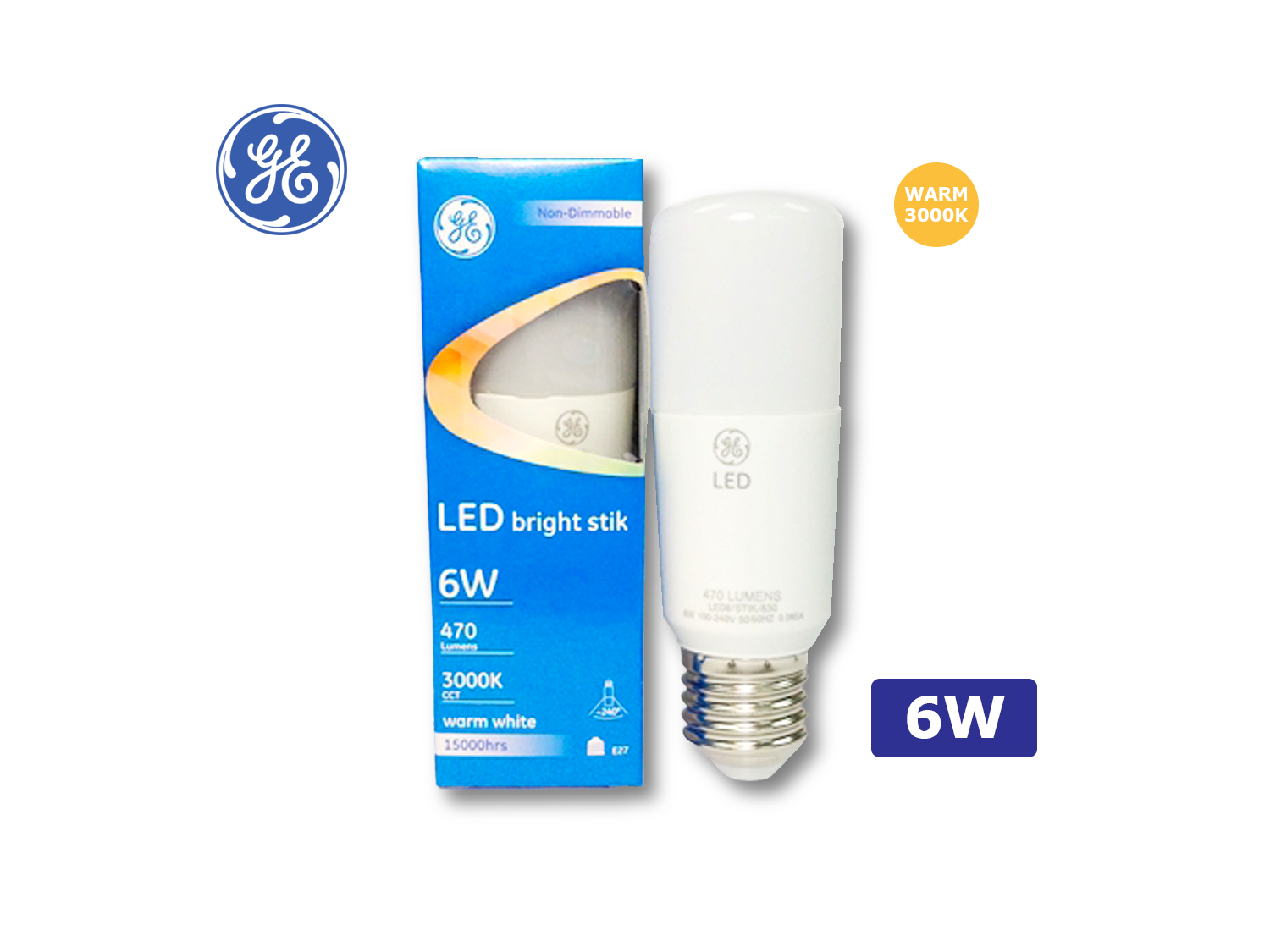 GE 6W/LED Brightstik E27/3000K(Warm White)/100-240V ; SKU: 74349T, LED6/STIK/830/100-240V/E27/G2