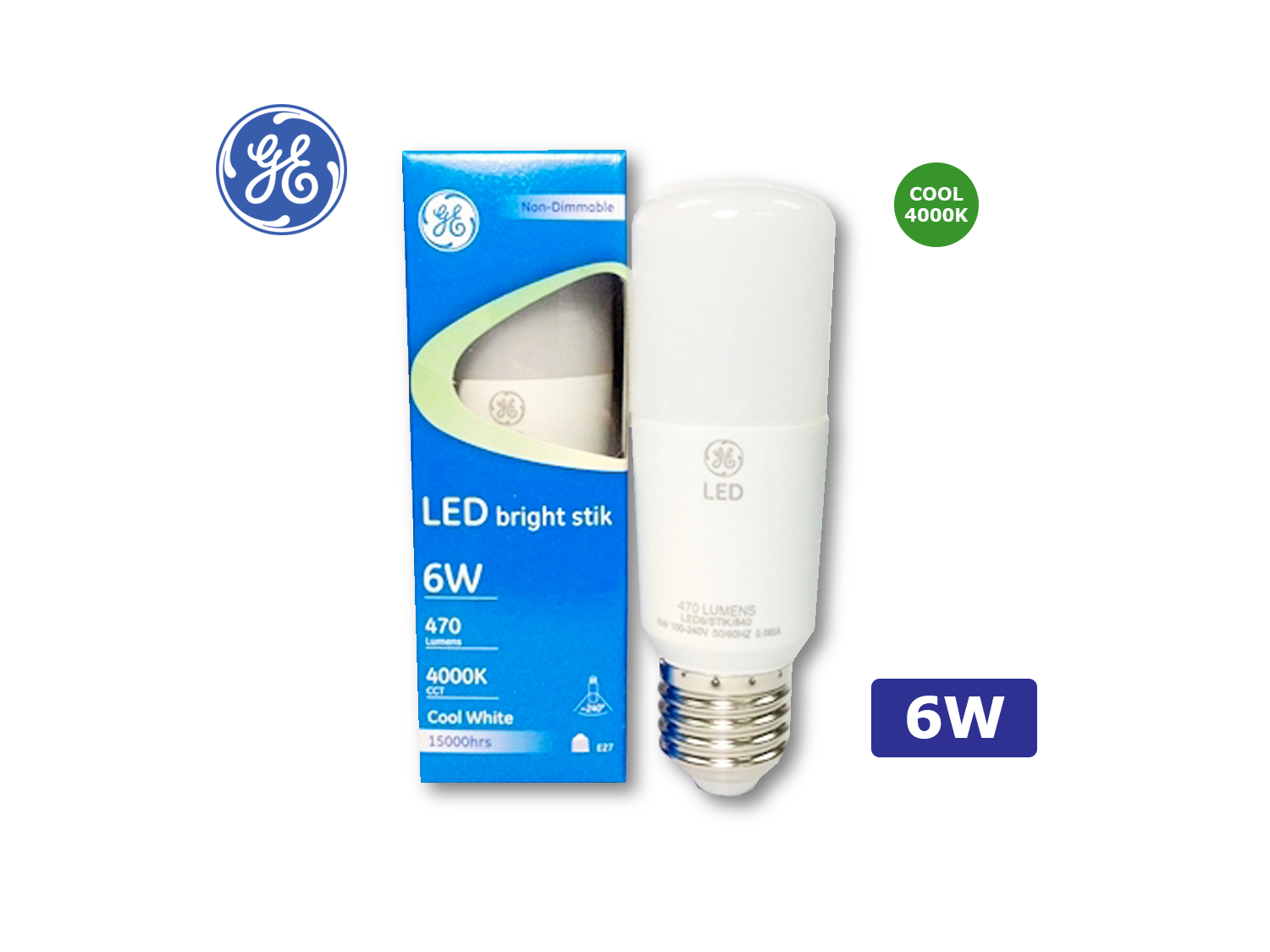 GE 6W/LED Brightstik E27/4000K(Cool White)/100-240V ; SKU: 74352T, LED6/STIK/840/100-240V/E27/G2