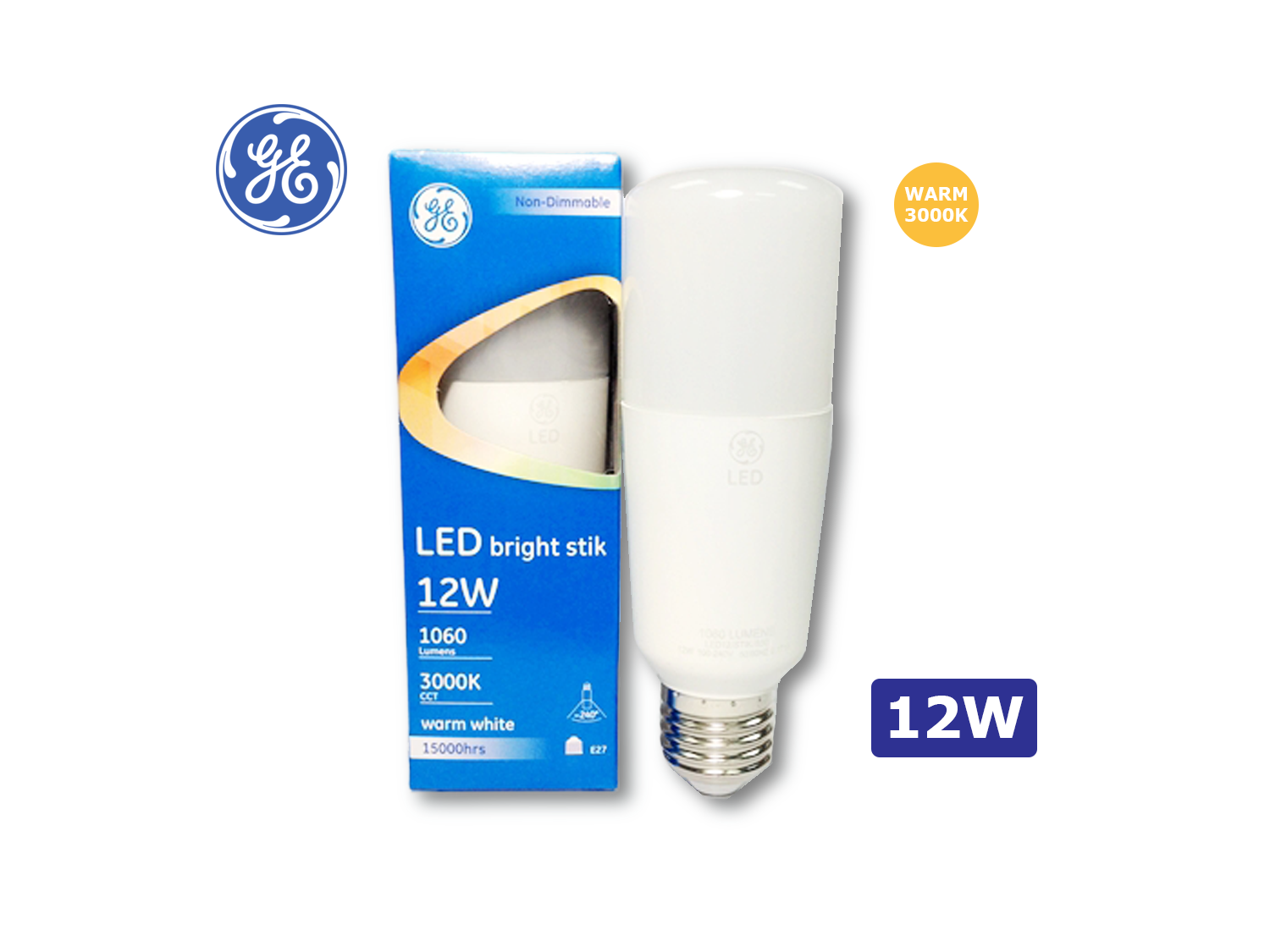 GE 12W/LED Brightstik E27/3000K(Warm White)/100-240V ; SKU: 74385T, LED12/STIK/830/100-240V/E27/G2