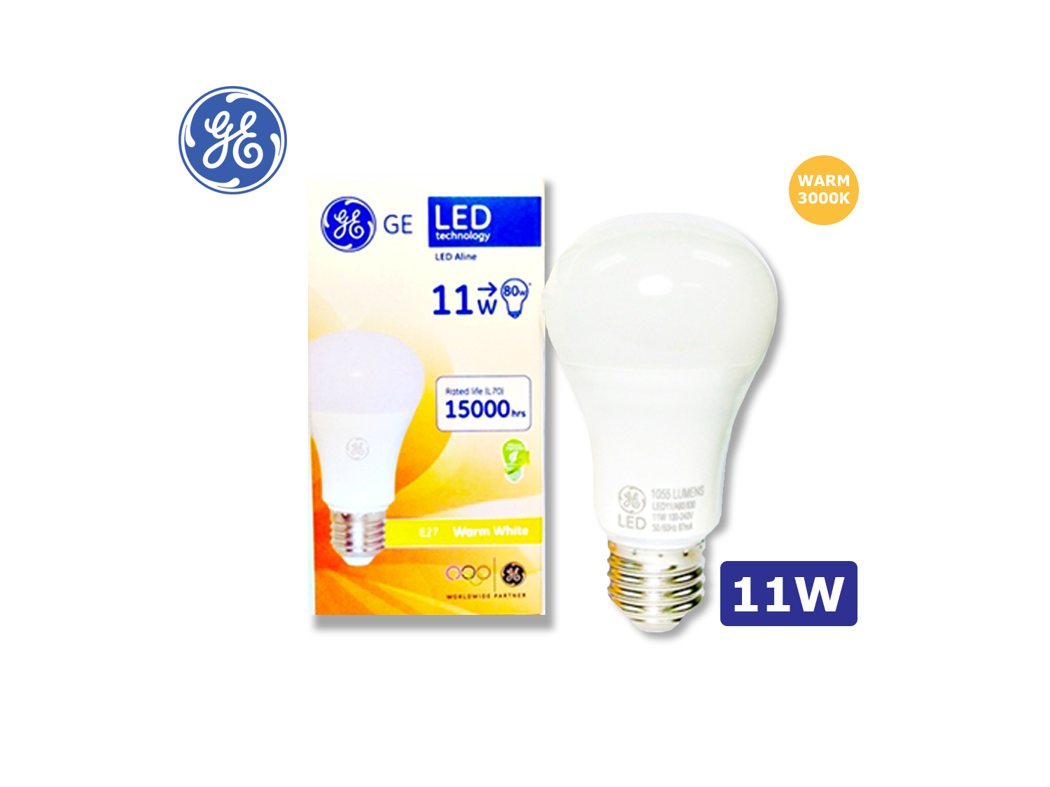 GE LED A60/11W/E27/3000K(Warm White)/100-240V ; SKU : 	74986BT, LED11/A60/830/100-240V/E27